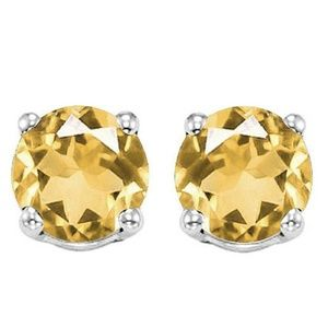 SOLD6mm Citrine Stud Earrings in Platinum/Sterling